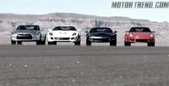 Американцы сравнили на прямой четыре суперкара: Nissan GT-R, Corvette ZR1, Ferrari 599 GTB и Porsche 911 GT2.