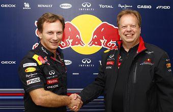 Энди Палмер, вице-президент Nissan, и Кристиан Хорнер, руководитель Red Bull Racing, рады продолжению сотрудничества.