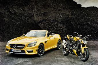 Mercedes-Benz SLK 55 AMG и Ducati Streetfighter 848.