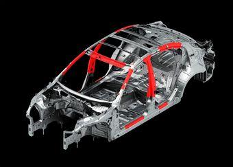 Через четыре года доля высокопрочных сталей (на изображении показаны красным) в кузове каждого автомобиля, выпущенного Nissan Motor Company, будет составлять не менее 25%.
