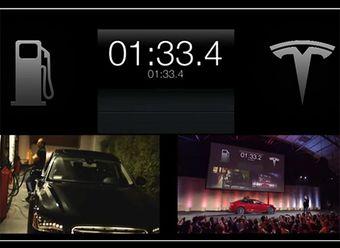Замена аккумуляторных батарей электрокара Tesla Model S занимает около полутора минут на полностью автоматизированной станции.