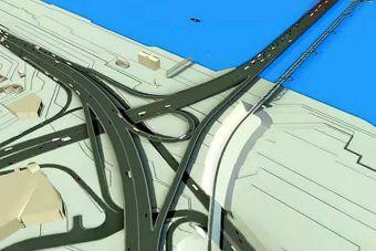 Развязка и мост со стороны Южной площади. Скриншот с видео компании «Мостовик».