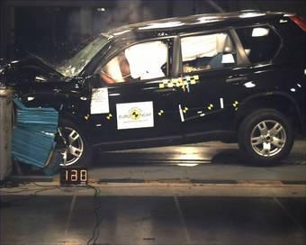 Тест на лобовое столкновение Nissan X-Trail проводился на скорости 64 км/час.
