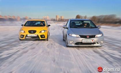 Зимний тест-драйв Honda Civic Type R и Seat Leon Cupra от Drom.ru — на чем ехать приятней