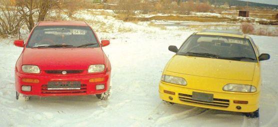 Красный и Желтый на Белом (Mazda Familia Neo, Isuzu Gemini Coupe)