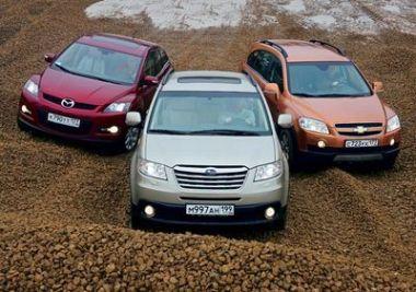 Сравнительный тест Chevrolet Captiva, Mazda CX-7 и Subaru Tribeca
