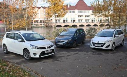 Сравнительный тест минивэнов  Mazda5, Opel Zafira и Toyota Verso. Семь мест — один ответ?