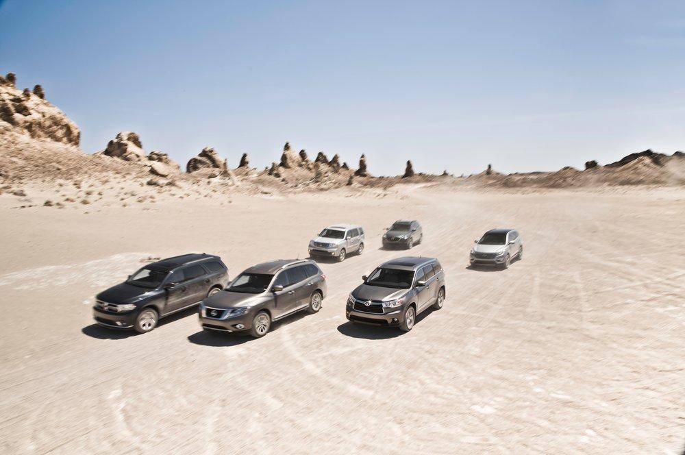 Dodge Durangovs.Honda Pilot vs.Hyundai Santa Fe vs.Mazda CX-9 vs.Nissan Pathfinder vs.Toyota Highlander