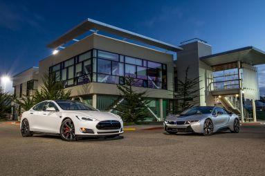 Сравнительный тест Tesla Model S P85+ и BMW i8