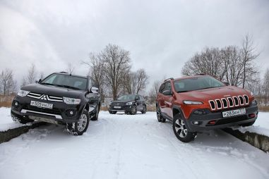 Jeep Cherokee Trailhawk против Volvo XC60 D5 и Mitsubishi Pajero Sport. На перепутье