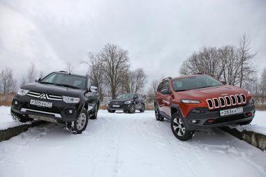 Jeep Cherokee Trailhawk против Volvo XC60 D5 и Mitsubishi Pajero Sport. На перепутье