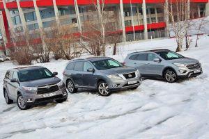 Сравнительный тест Nissan Pathfinder, Hyundai Grand Santa Fe и Toyota Highlander. Три богатыря