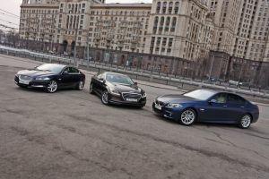 Сравнительный тест BMW 535i xDrive, Hyundai Genesis 3.8 HTrac и Jaguar XF 3.0 AWD. Догнать и... перегнать?