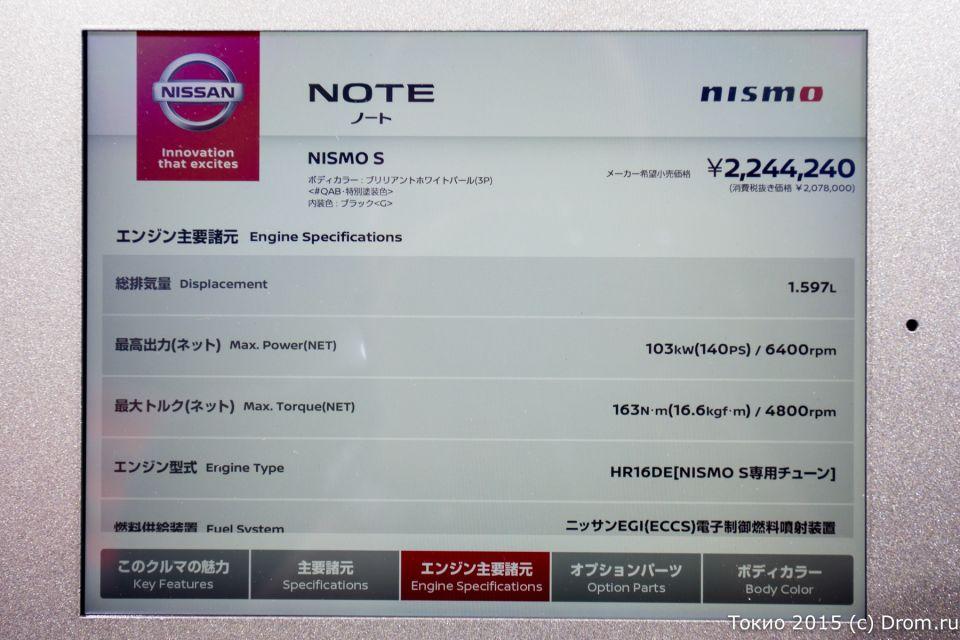 Спецификации Nissan Note Nismo