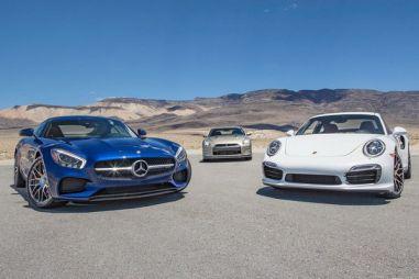 Сравнительный тест Mercedes-AMG GT S, Porsche 911 Turbo S и Nissan GT-R 45th Anniversary