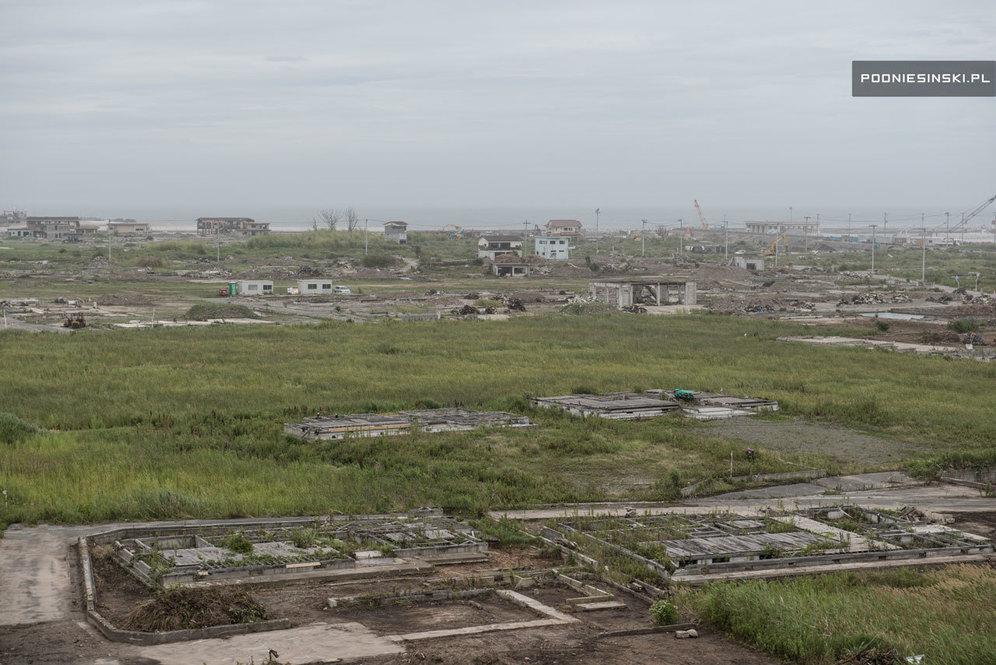 Вид из башни школы на побережье, пострадавшее от цунами