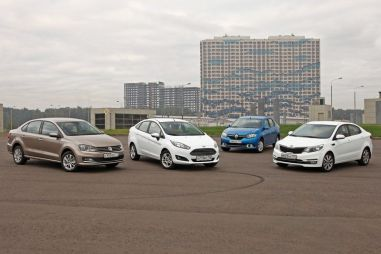 Тест бюджетных седанов Ford Fiesta, VW Polo, Kia Rio и Renault Logan. Переаттестация