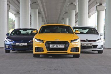 Сравнительный тест Audi TT, VW Golf GTI и Subaru BRZ. Полный, задний или передний?