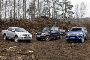 Сравниваем пикапы Toyota Hilux, Mitsubishi L200 и UAZ Patriot Pickup. Три богатыря